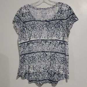Lucky Brand Blue & Wht Scoop Neck Tee Sz M